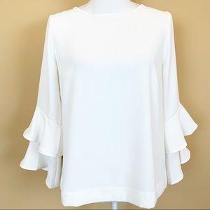 J. Crew ivory white ruffled layered blouse